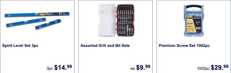 Hardware on sale as Special Buys at Aldi.