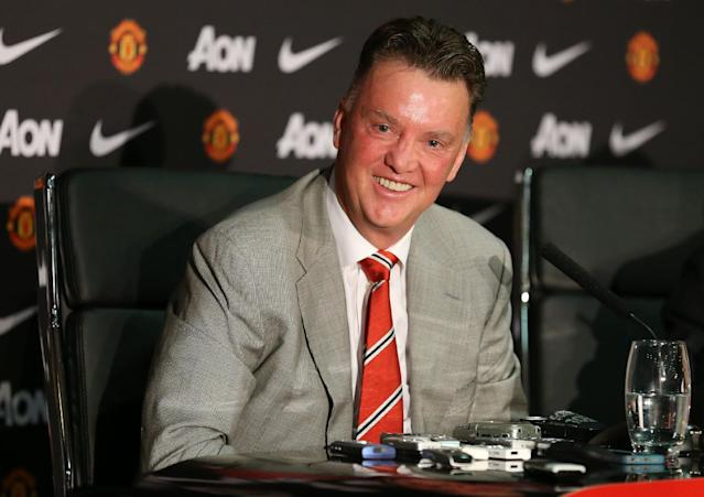 Manchester United's newly-appointed Dutch manager Louis van Gaal addresses a press conference at Old Trafford in Manchester, northwest England, on July 17, 2014 (AFP Photo/Lindsey Parnaby)