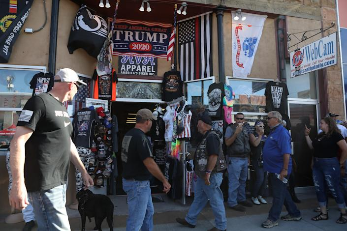 """Trump 2020 swag is flying off the shelves at this year's Sturgis Motorcycle Rally. <p class=""""copyright"""">Jim Urquhart/Insider</p>"""
