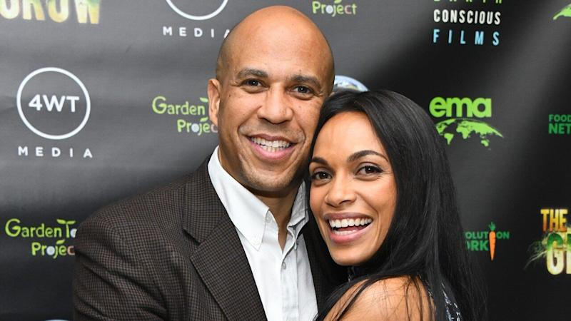 Rosario Dawson and Cory Booker Cuddle Up on the Red Carpet in Rare Joint Appearance
