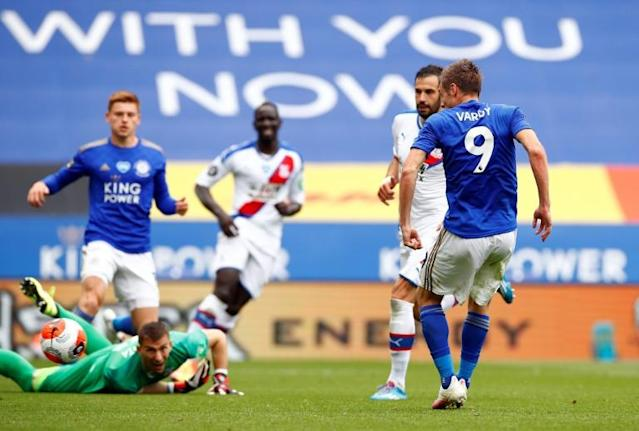 101 not out: Jamie Vardy scored his 100th and 101st Premier League goals for Leicester against Crystal Palace (AFP Photo/JASON CAIRNDUFF)