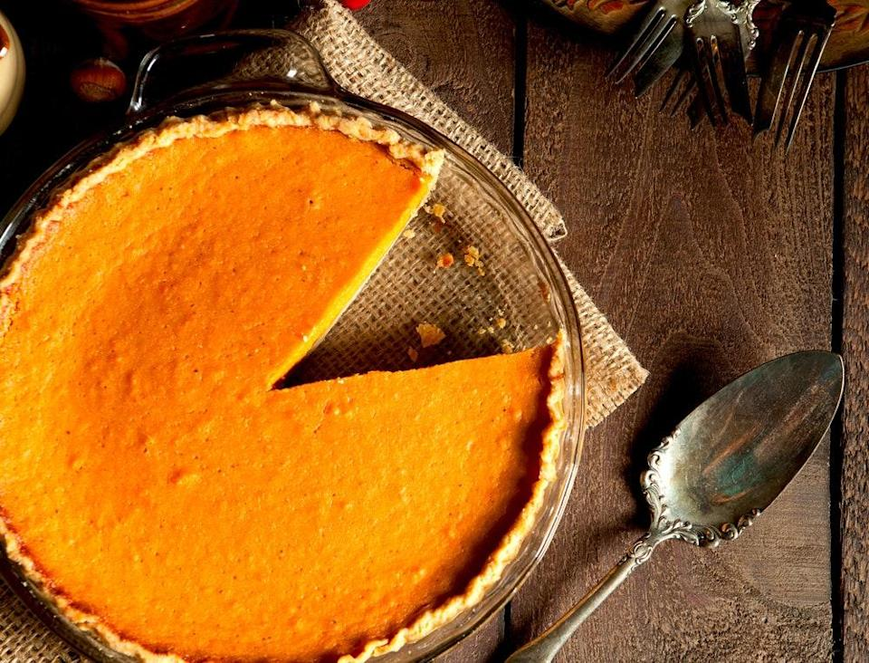 """Grade B maple syrup is already flavorful, but it gets even bolder when cooked down. Here, the boiled syrup gets mixed with pumpkin, cinnamon, and ginger for a beautiful pie. <a href=""""https://www.epicurious.com/recipes/food/views/maple-pumpkin-pie-13429?mbid=synd_yahoo_rss"""" rel=""""nofollow noopener"""" target=""""_blank"""" data-ylk=""""slk:See recipe."""" class=""""link rapid-noclick-resp"""">See recipe.</a>"""