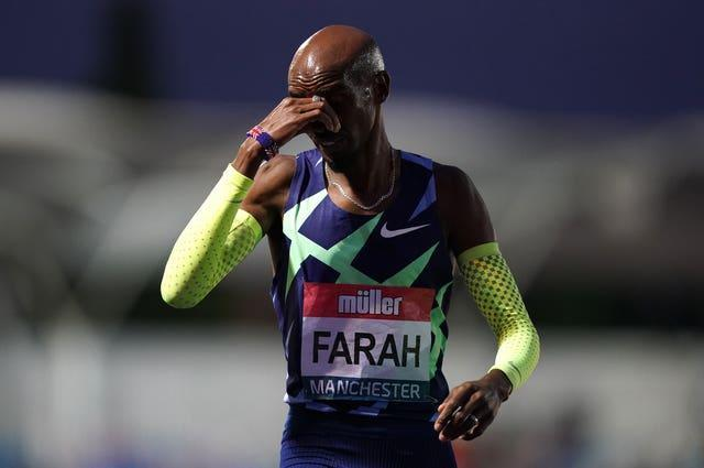 Great Britain's Sir Mo Farah reacts after failing to achieve the qualifying time in the men's 10000m final in Manchester