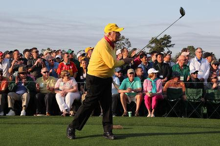 FILE PHOTO: Honorary starter Jack Nicklaus of the U.S. tees off during the ceremonial start on the first day of play at the 2019 Master golf tournament at the Augusta National Golf Club in Augusta, Georgia, U.S., April 11, 2019. REUTERS/Jonathan Ernst