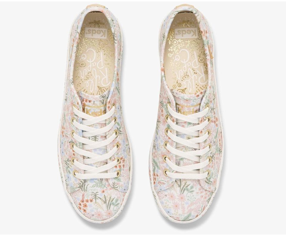 <p>These <span>Keds x Rifle Paper Co. Kickstart Meadow Sneakers</span> ($70) stand out with their sleek silhouette and delightful floral pattern. They will quickly transform your look by adding a dose of effortlessness and cool.</p>