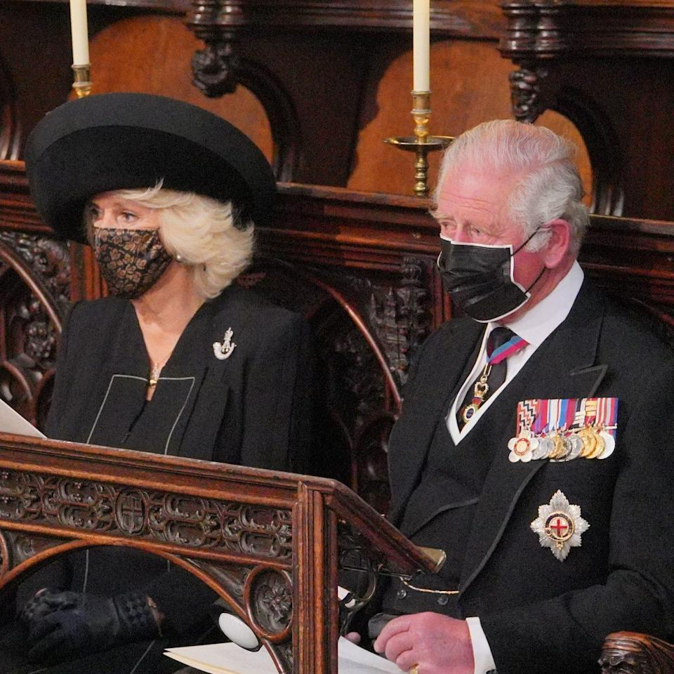 The Duchess of Cornwall and the Prince of Wales during the funeral - Dominic Lipinski/PA Wire