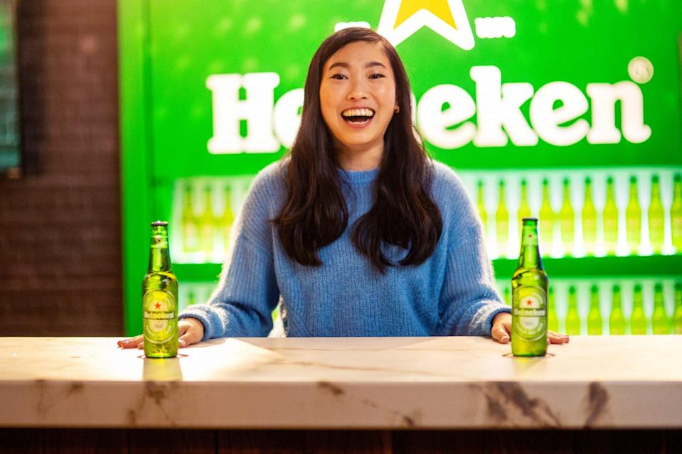 <p>Awkwafina raises a glass with Heineken in L.A. in celebration of the brand's Bestie Gift Ever program, which aims to reunite good friends in real life once the COVID-19 pandemic is over.</p>
