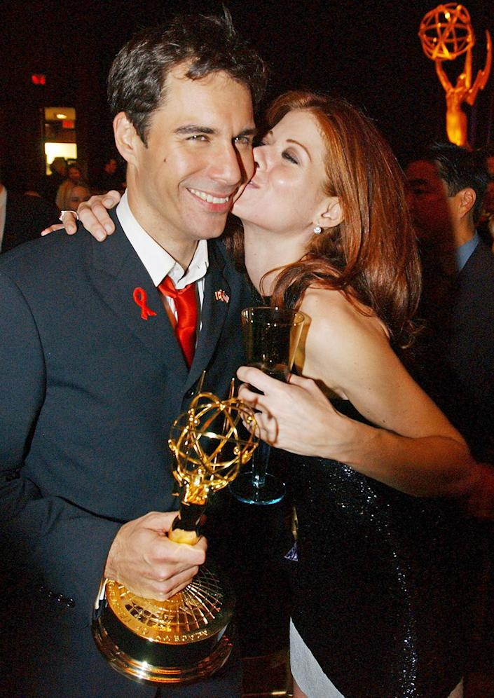<p>Eric McCormack celebrated his outstanding lead actor in a comedy series win with <em>Will & Grace </em>costar Debra Messing, who was also nominated that year. </p>