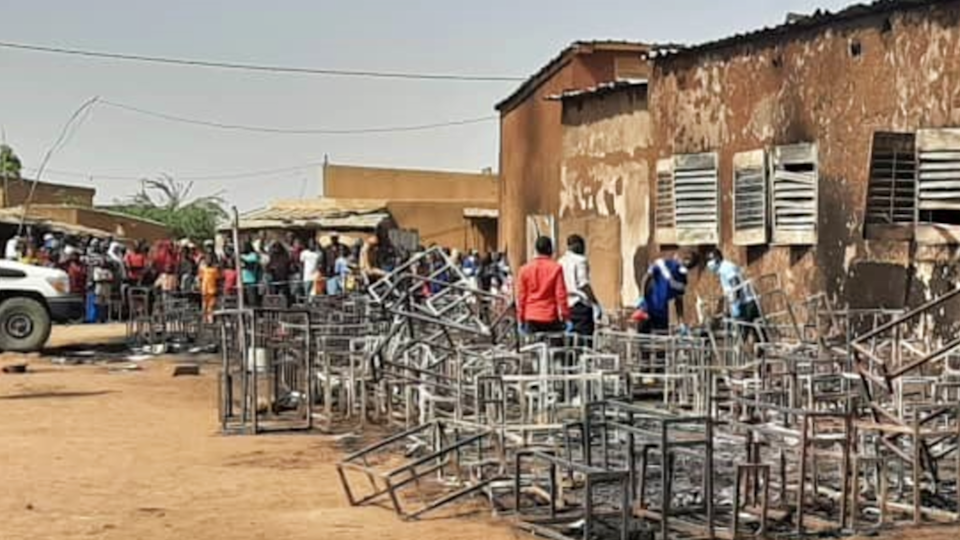 The burnt-out scene at the school in Niger - Wednesday 14 April 2021