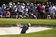Collin Morikawa hits from bunker on the first hole during the third round of the Tour Championship golf tournament Saturday, Sept. 4, 2021, at East Lake Golf Club in Atlanta. (AP Photo/Brynn Anderson)