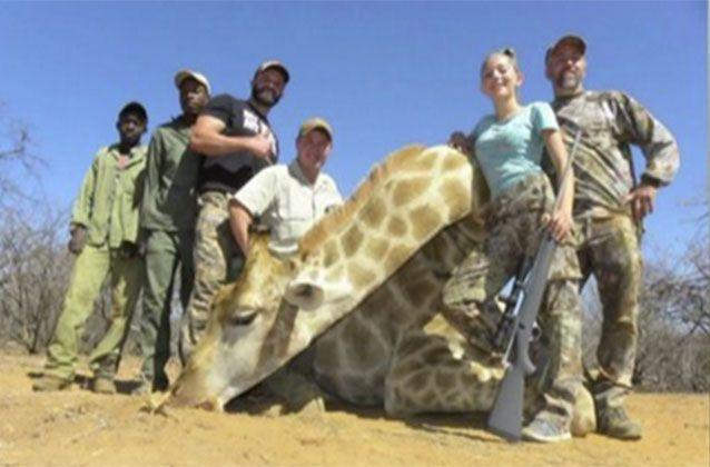 Aryanna, her father Eli and their hunting party during their recent trip to South Africa. Picture: Facebook