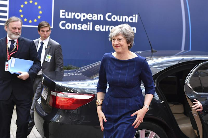 Crucial bid: Theresa May arrives in Brussels in an attempt to move on Brexit talks: AP
