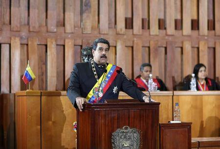 Venezuela's President Nicolas Maduro speaks during a ceremony to mark the opening of the judicial year at the Supreme Court of Justice (TSJ) in Caracas