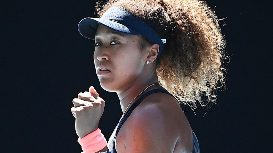 Pictured here, Naomi Osaka gives a fist pump during her Aus Open win against Serena Williams.