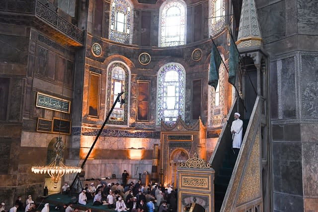 Muslims gather inside the Hagia Sophia, recently converted back to a mosque, in Istanbul