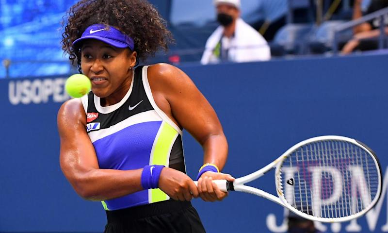 Osaka plays a double-handed backhand on her way to winning in three sets.