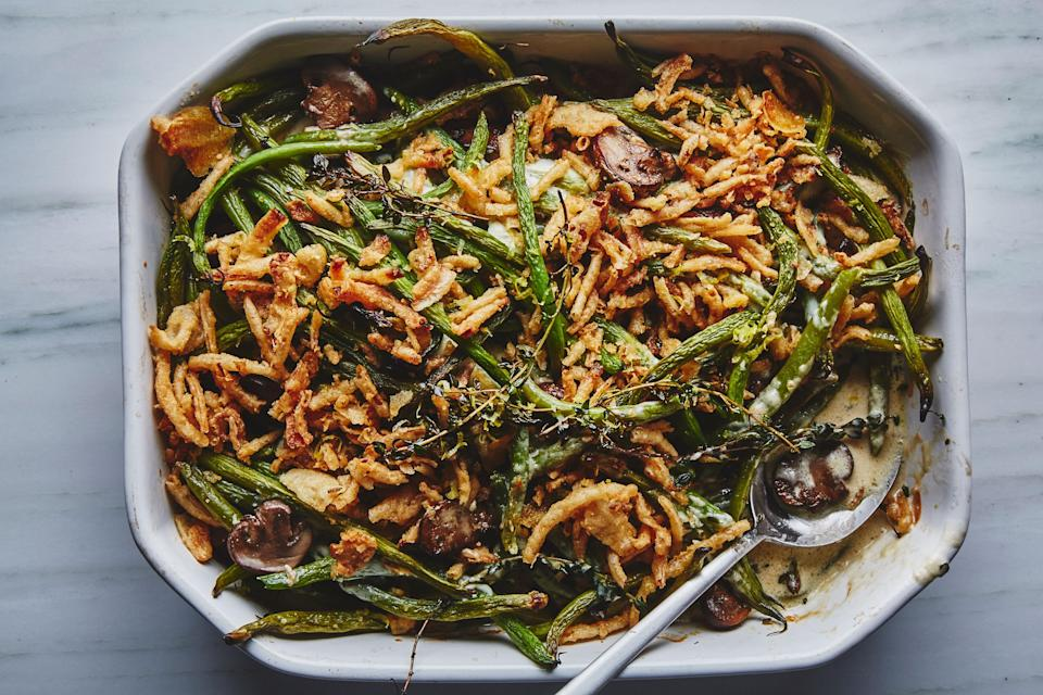 "You can make your own fried shallots or onions, but French's are astonishingly delicious and practically define this green bean casserole recipe (and you can find them at pretty much any grocery store). <a href=""https://www.bonappetit.com/recipe/bas-best-green-bean-casserole?mbid=synd_yahoo_rss"" rel=""nofollow noopener"" target=""_blank"" data-ylk=""slk:See recipe."" class=""link rapid-noclick-resp"">See recipe.</a>"