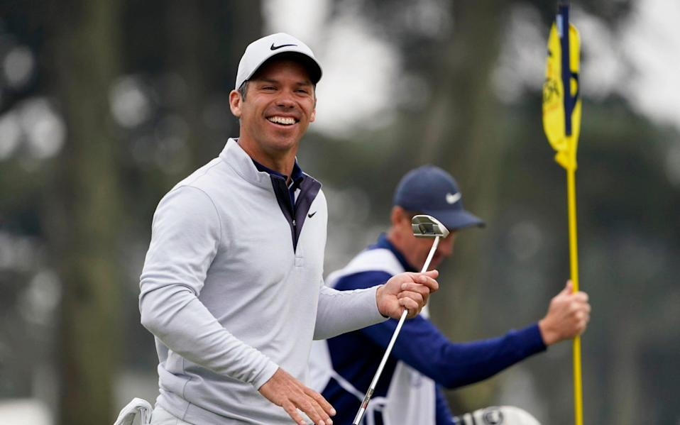 Paul Casey of England, smiles on the ninth hole during the final round of the PGA Championship  - AP