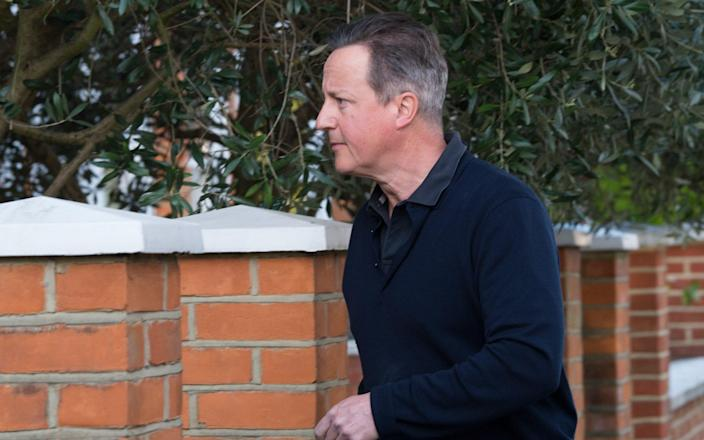 David Cameron outside his west London house this morning - Fiona Hanson for the Telegraph