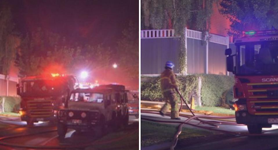 Firefighters attend a scene in Glen Waverley in Melbourne where a woman and three children died in a house fire.