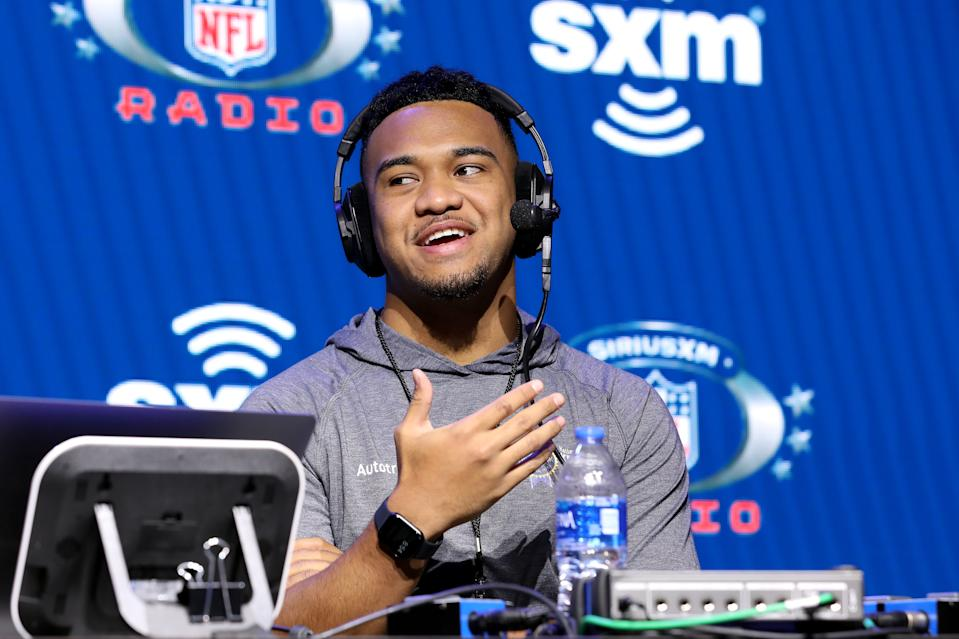 Alabama quarterback Tua Tagovailoa is keeping an even keel on his hip injury . but understands that his future is somewhat out of his hands now. (Photo by Cindy Ord/Getty Images for SiriusXM )