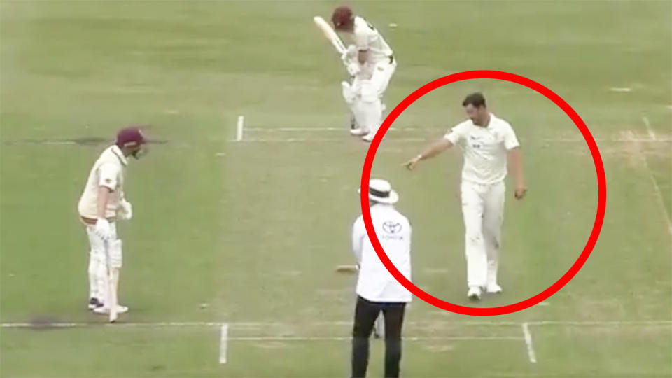 Mitchell Starc is seen pointing at the stumps and warning Marnus Labuschagne to stay behind the crease.