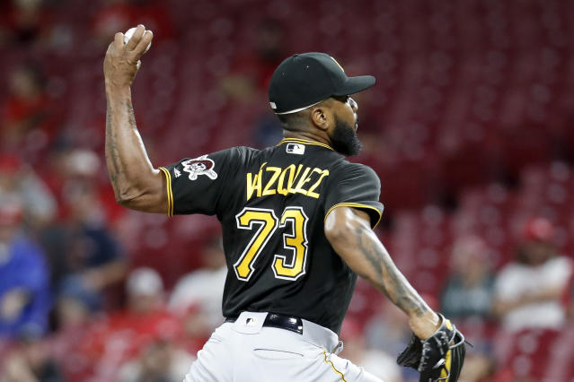Pittsburgh Pirates relief pitcher Felipe Vazquez throws in the ninth inning of a baseball game against the Cincinnati Reds, Saturday, July 21, 2018, in Cincinnati. (AP Photo/John Minchillo)