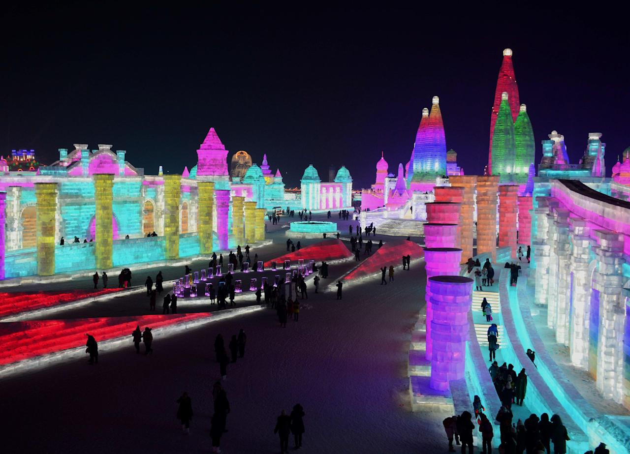 <p>The city of Harbin, China is in the final stages of prep for its annual ice and snow festival, officially opening to the public, Jan. 5, 2018.</p>