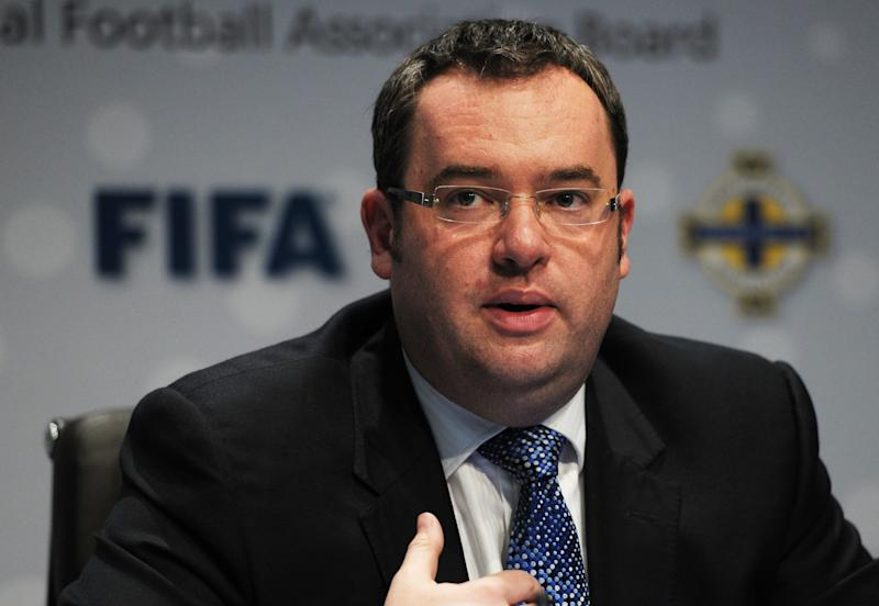 Alex Horne, The Football Association, answers questions  at a press conference about goal-line technology  in Zurich, Switzerland, Thursday July 5, 2012. Goal-line technology has been given the go-ahead by the International Football Association Board (IFAB) following a vote at FIFA headquarters in Zurich. (AP Photo / KEYSTONE/Steffen Schmidt)