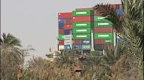 A grab from an AFPTV video taken on March 29, 2021, shows the bow of the Panama-flagged MV 'Ever Given' container ship heading north after it was fully dislodged from the banks of the Suez Canal
