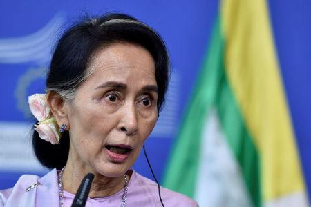Myanmar State Counsellor Aung San Suu Kyi gives a news conference in Brussels