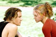 "<p>This <em>Taming of the Shrew</em> adaptation had absolutely everything our angsty teen selves needed. There was Alex Mack, a baby Joseph Gordon-Levitt, lots of references to The Raincoats, and Heath Ledger singing ""Can't Take My Eyes Off of You"" in one of the greatest rom-com scenes of all time. Plus, if you rewatch it now, it becomes really clear just how much of a badass Julia Stiles's character was.</p> <p><em>Available to rent on</em> <a href=""https://www.amazon.com/10-Things-Hate-About-You/dp/B0063T7JGU"" rel=""nofollow noopener"" target=""_blank"" data-ylk=""slk:Amazon Prime Video"" class=""link rapid-noclick-resp""><em>Amazon Prime Video</em></a><em>.</em></p>"
