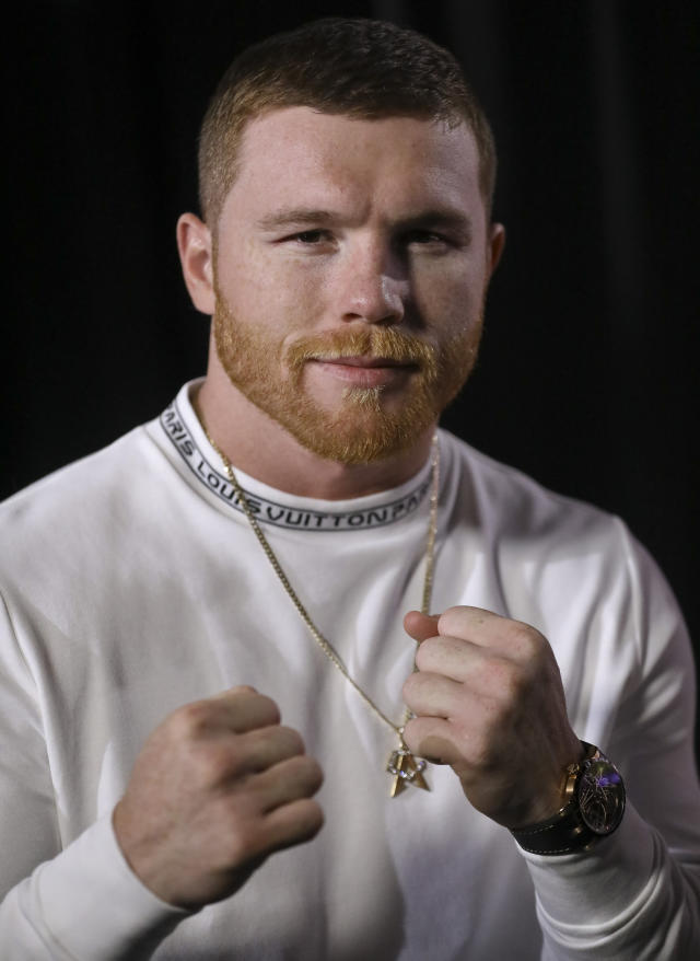WBC and WBA middleweight boxing champion Canelo Alvarez poses during an interview, Thursday Feb. 28, 2019, in New York. Alvarez is slated to fight Daniel Jacobs in a middleweight title unification bout in Las Vegas, on Saturday May, 4, 2019. (AP Photo/Bebeto Matthews)