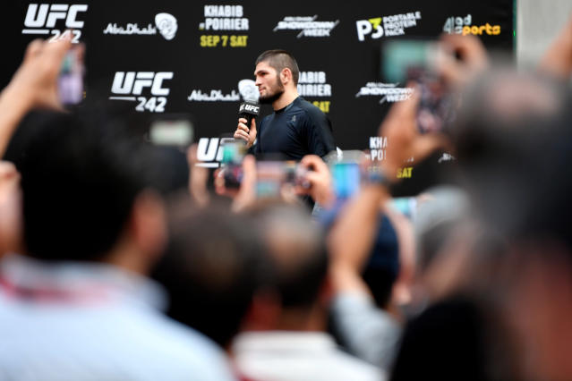 Khabib Nurmagomedov interacts with fans during the UFC 242 open Wworkouts at Yas Mall on Sept. 4, 2019 in Abu Dhabi, United Arab Emirates. (Getty Images)
