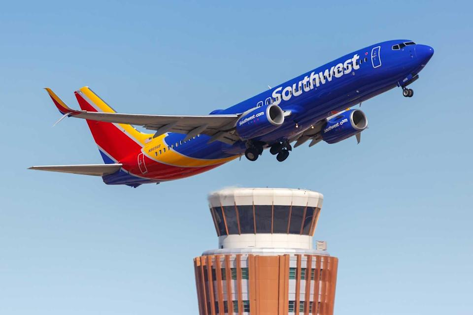 Southwest Airlines Boeing 737-800 airplane at Phoenix Airport (PHX) in Arizona.