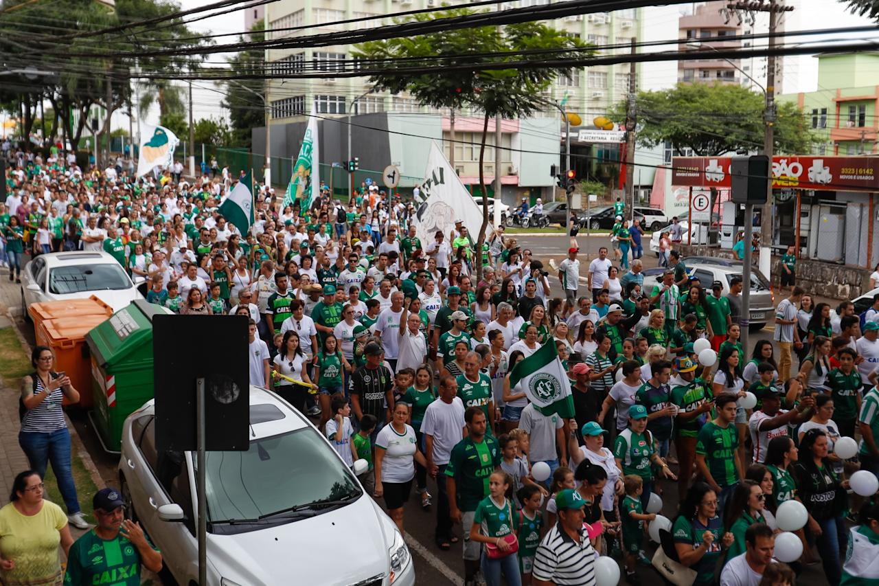 <p>The crowds flocked to see Chapecoense take on Atletico Nacional </p>