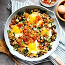 <p>One skillet is all you need to create this satisfying, veggie-loaded breakfast (or dinner) dish. This skillet is packed with mushrooms, bell pepper and chard to help up your veggie count for the day and is topped with bacon, eggs, cheese, pico de gallo and fresh cilantro.</p>