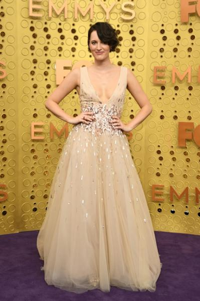British actress Phoebe Waller-Bridge glittered in Monique Lhuillier at the Emmys (AFP Photo/VALERIE MACON)