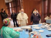 Pope visits Vatican vaccination centre on Good Friday