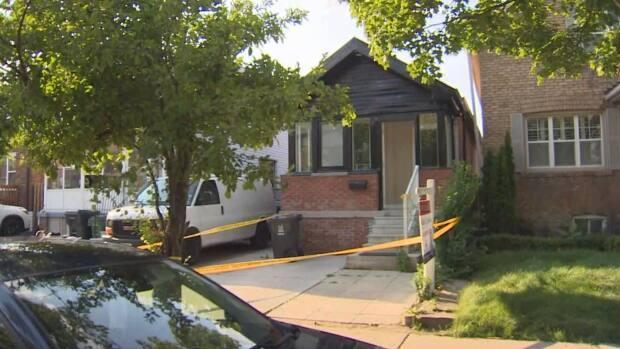 Emergency crewswere called just after 12:30 p.m to Whitmore Avenue and Dufferin Street,where a man and woman were found with 'obvious signs of trauma.'  (Spencer Gallichan-Lowe/CBC - image credit)