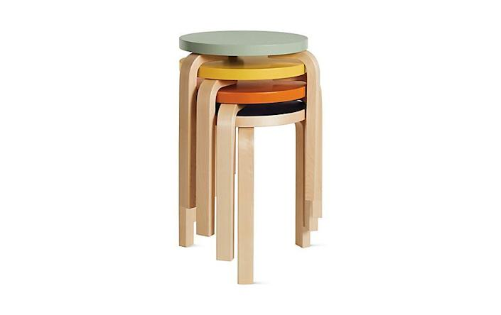 """<p><strong>Alvar Aalto</strong></p><p>dwr.com</p><p><strong>$325.00</strong></p><p><a href=""""https://go.redirectingat.com?id=74968X1596630&url=https%3A%2F%2Fwww.dwr.com%2Fliving-ottomans-benches-stools%2Faalto-stool-60%2F9638.html%3Flang%3Den_US&sref=https%3A%2F%2Fwww.redbookmag.com%2Fbeauty%2Fg37132432%2Fchair-types-styles-designs%2F"""" rel=""""nofollow noopener"""" target=""""_blank"""" data-ylk=""""slk:Shop Now"""" class=""""link rapid-noclick-resp"""">Shop Now</a></p><p>In the 1930s, Finnish designer Alvar Aalto began experimenting with methods of steaming Birch wood to make it bendable. The most successful result? This simple, stackable three-leg stool, which Alto produced through Artek, the company he founded with his wife Aina. </p>"""