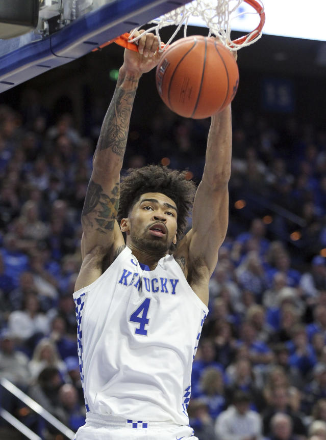 Kentucky's Nick Richards dunks during the second half of the team's NCAA college basketball game against UAB in Lexington, Ky., Friday, Nov. 29, 2019. Kentucky won 69-58. (AP Photo/James Crisp)