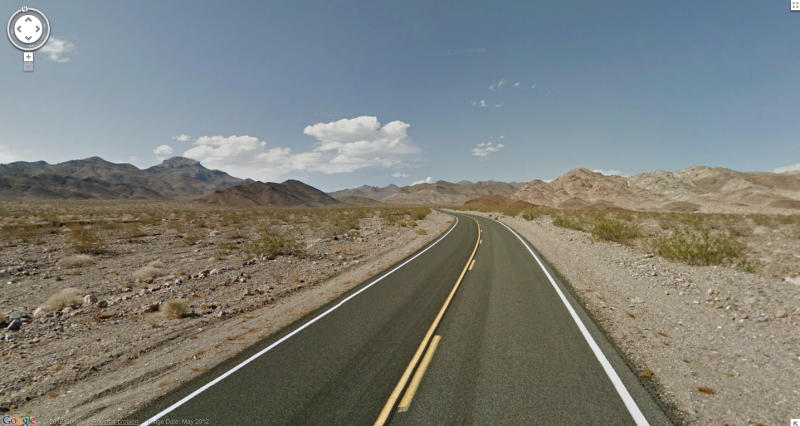 In this undated Street View image provided by Google is Death Valley National Park in California. The Google Street View service that has brought us Earth as we might not be able to afford to see it, as well criticism that some scenes along its 5 million miles of the globe's roadways invade privacy, this month has turned its 360-degree cameras on road trips through five national parks in California. (AP Photo/Google)