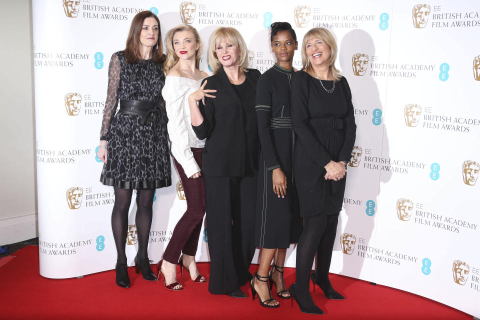 Bafta Chief Executive Amanda Berry, from left, actresses, Natalie Dormer, Joanna Lumley, Letitia Wright and Bafta Chair Jane Lush pose for photographers during a photo call for the BAFTA Academy Film Awards Nominations in London, Tuesday, Jan 9, 2018. (Photo by Joel Ryan/Invision/AP)