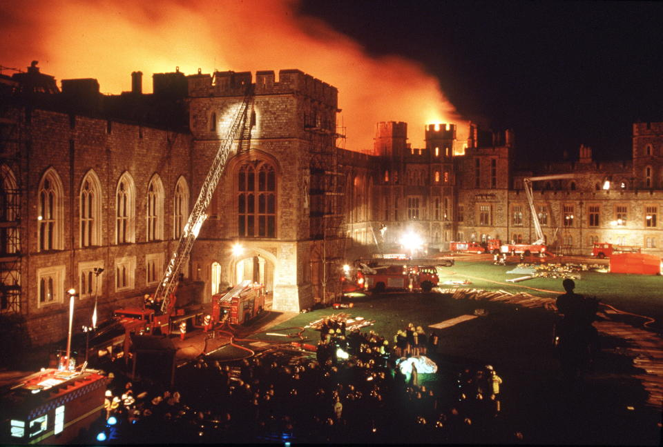 "WINDSOR, UNITED KINGDOM - NOVEMBER 20:  Another Disaster In The Queen's ""annus Horribilis"" When A  Fire Broke Out At Windsor Castle - A Tragedy Damaging More Than 100 Rooms.  (Photo by Tim Graham Photo Library via Getty Images)"