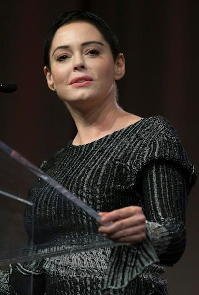US actress Rose McGowan -- shown here in Detroit in October 2017 -- has been a prominent critic of abuse in Hollywood, but is not a fan of Sunday's planned red carpet 'blacklash'