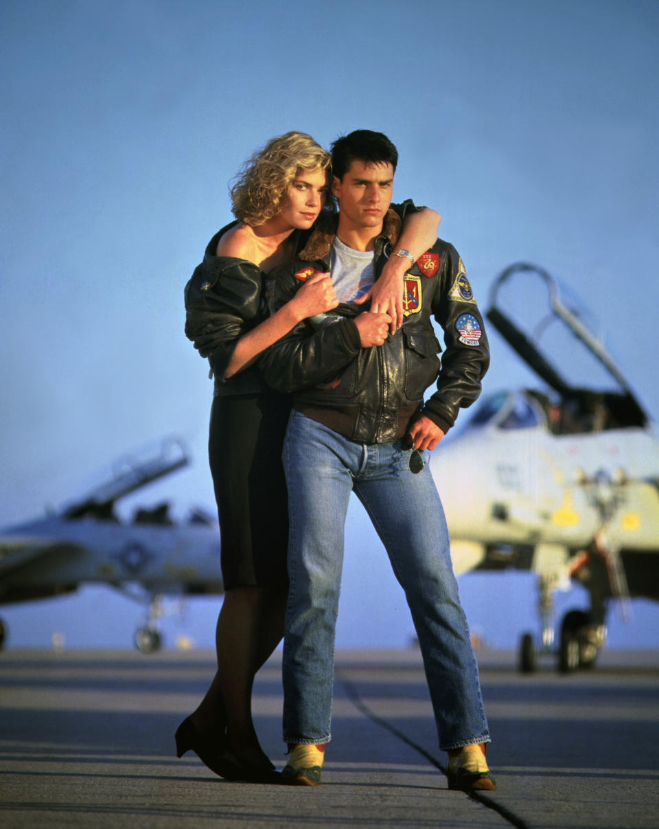 American actors Kelly McGillis and Tom Cruise on the set of Top Gun, directed by Tony Scott. (Photo by Paramount Pictures/Sunset Boulevard/Corbis via Getty Images)