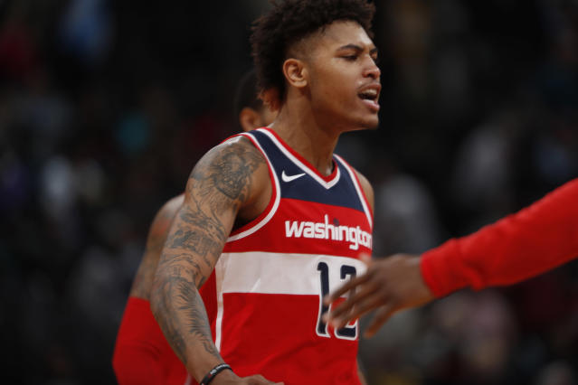 """<a class=""""link rapid-noclick-resp"""" href=""""/nba/teams/was/"""" data-ylk=""""slk:Washington Wizards"""">Washington Wizards</a> forward Kelly Oubre Jr. appeared to throw punches and hit teammate <a class=""""link rapid-noclick-resp"""" href=""""/nba/players/4716/"""" data-ylk=""""slk:John Wall"""">John Wall</a> and Warriors' <a class=""""link rapid-noclick-resp"""" href=""""/nba/players/4892/"""" data-ylk=""""slk:Klay Thompson"""">Klay Thompson</a>. (AP)"""