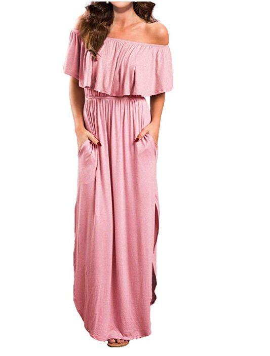 """This off-the-shoulder maxi dress comes in sizes XS to XL and fifteen colors and patterns. <strong><a href=""""https://amzn.to/2lymQ6q"""" target=""""_blank"""" rel=""""noopener noreferrer"""">Normally $27, get it on sale for $20 on Prime Day.</a></strong>"""