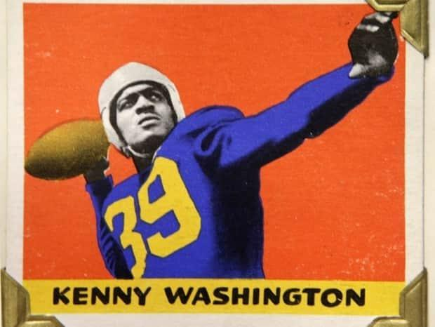 A card commemorating Kenny Washington, who in 1946 became the first Black player in the National Football League after 12 seasons of segregation.